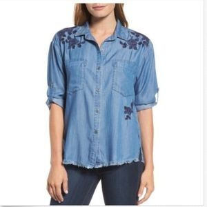 NWT Billy T Roll Tab Embroidered Button Down Top L